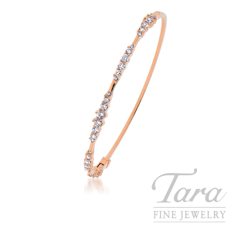 18K Rose Gold Bangle Bracelet By Norman Covan, 30 Round Diamond 1.22TDW