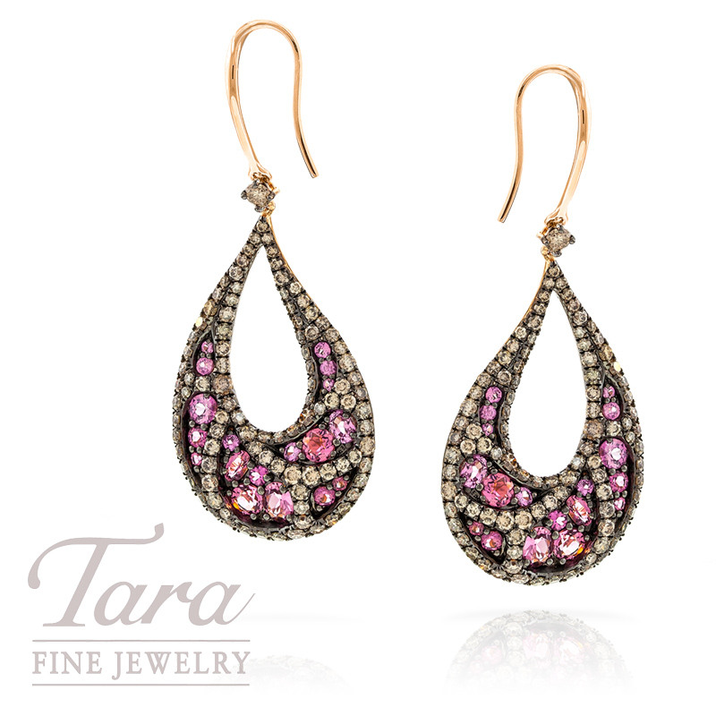 Pink Sapphire, Pink Tourmaline and Champagne Diamond Earrings in 18k Rose Gold, 1.65 CT TGW and 2.59 TDW