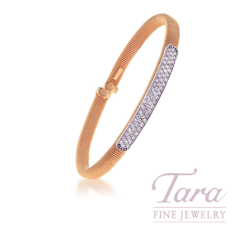 18k Rose Gold Diamond Spring Bangle, 67 Rounds, 1.22TDW