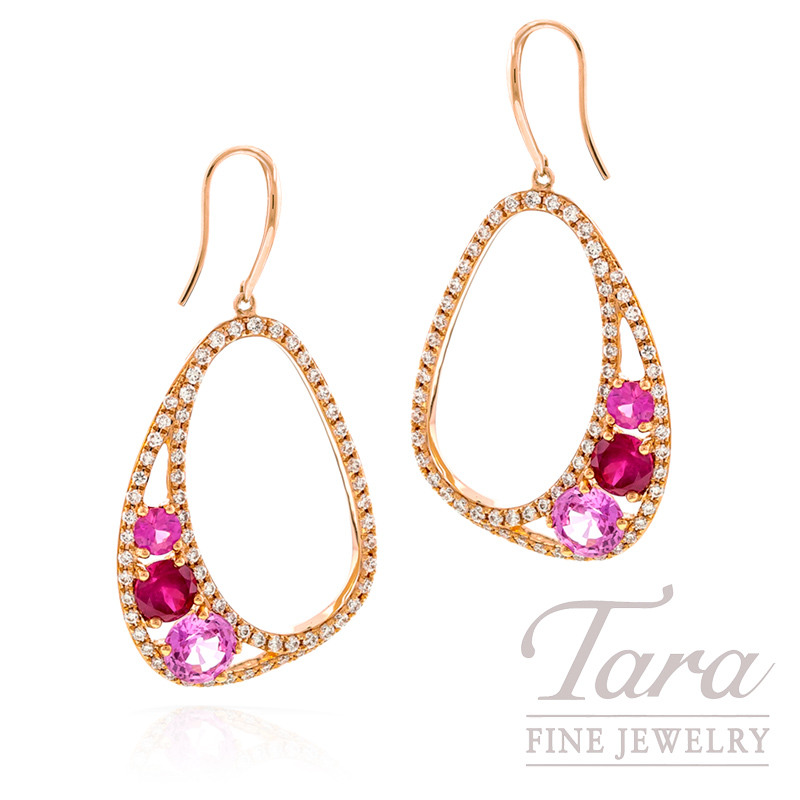 Pink Sapphire and Diamond Earrings in 18k Rose Gold, 1.84 CT TGW and .59 TDW