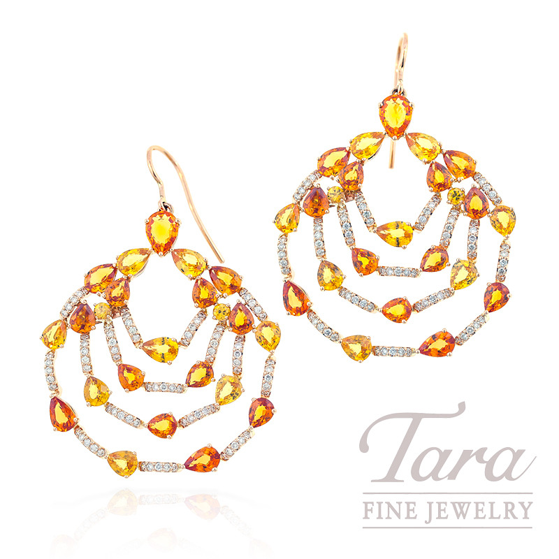 Yellow & Orange Sapphire & Diamond Earrings in 18k Rose Gold, 18 CT TGW and 1.20 TDW