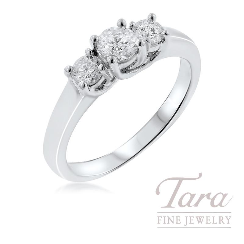 18K White Gold Three-Stone Engagement Ring, 3.6G, .50TDW