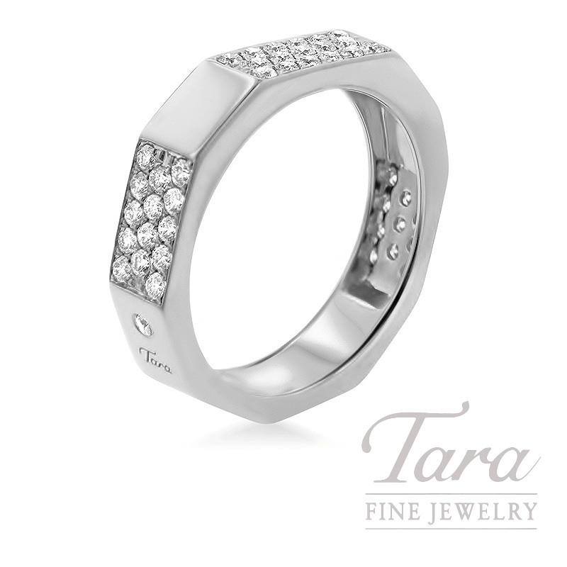 18k White Gold Diamond Band, 6.2G, .60TDW