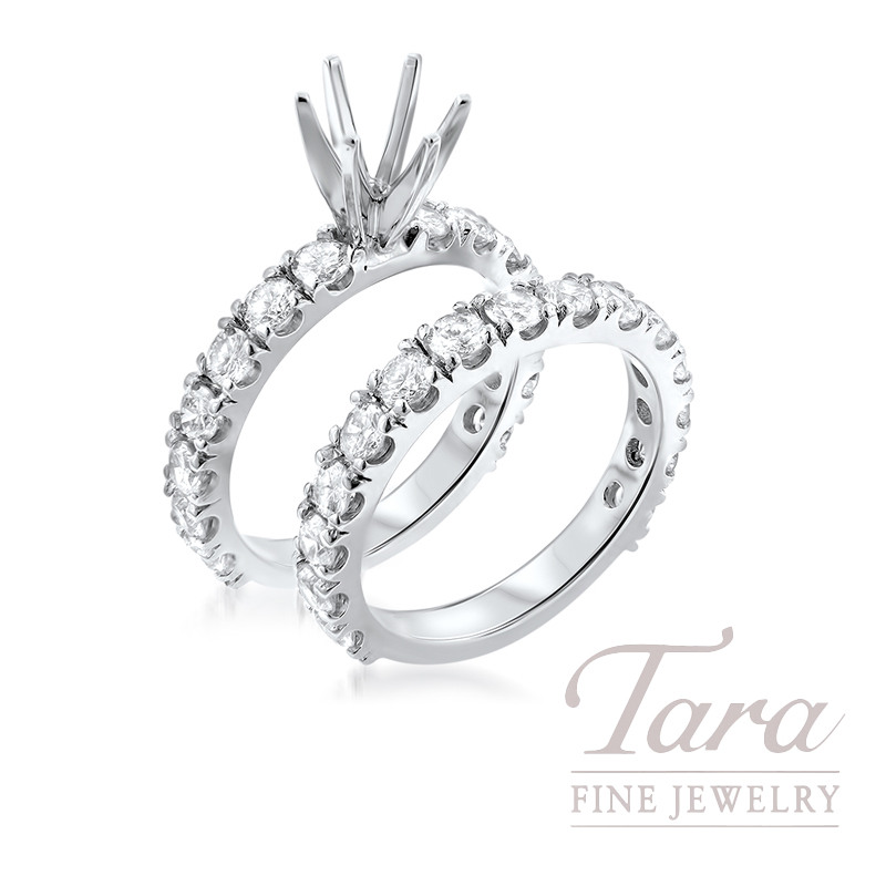 18k White Gold Diamond Wedding Set, 1.06TDW Semi-Mount, 1.16TDW Band (Center Stone Sold Separately)