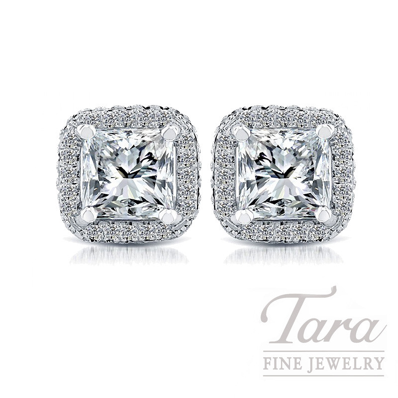 18K White Gold Halo Princess Cut Diamond Earrings - Click for Available Sizes!
