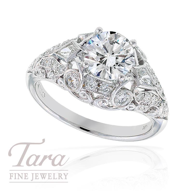 Diamond Wedding Ring in 18k White Gold, .38tdw  2 Kite .19tdw (Center stone sold separately)