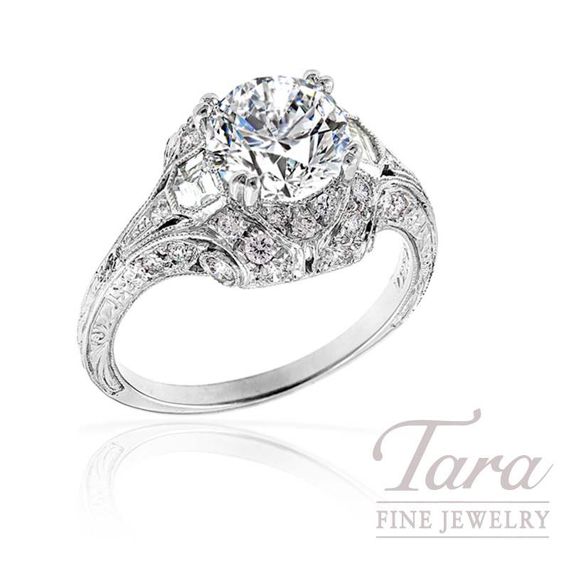 Diamond Wedding Ring in 18k White Gold, 3/4 Carat TDW. (Center Stone Sold Separately)