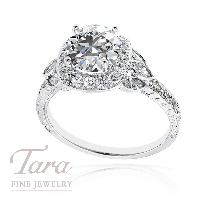 Diamond Wedding Ring in 18k White Gold, .51tdw, 6 Marquise .27tdw (Center stone sold separately)