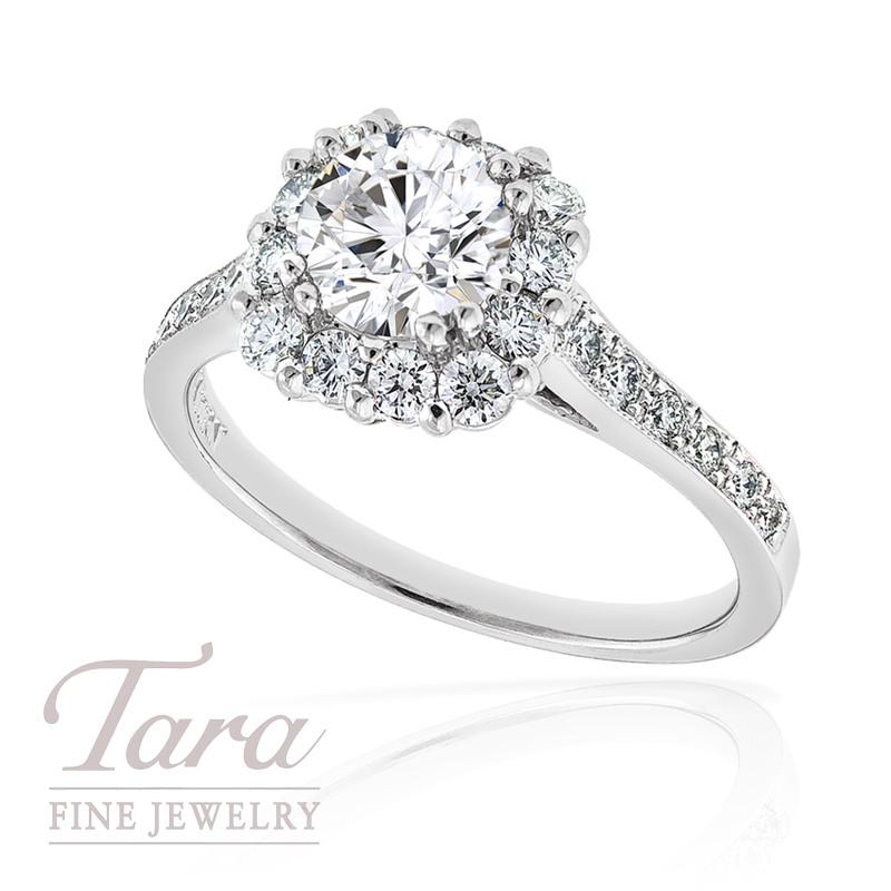 Diamond Engagement Ring in 18k White Gold, .54tdw (Center stone sold separately)
