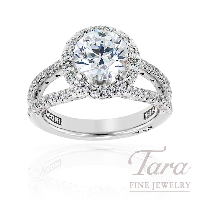 Tacori Diamond Wedding Ring in 18kt White Gold, .79 ctw (Center stone sold separately)
