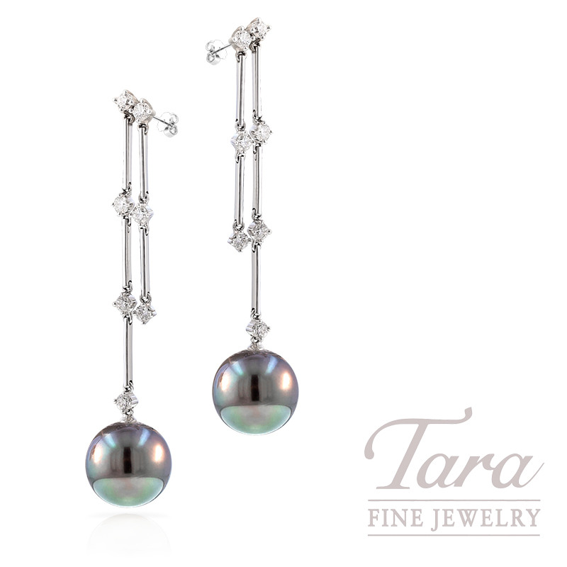 Tahitian Pearl and Diamond Earrings in 18k White Gold, 10mm Pearls and .55 TDW, 3.7g