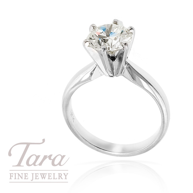 Diamond Solitaire Engagement Ring, 18K White Gold, 2.07 CT TW  (M/ VS2)