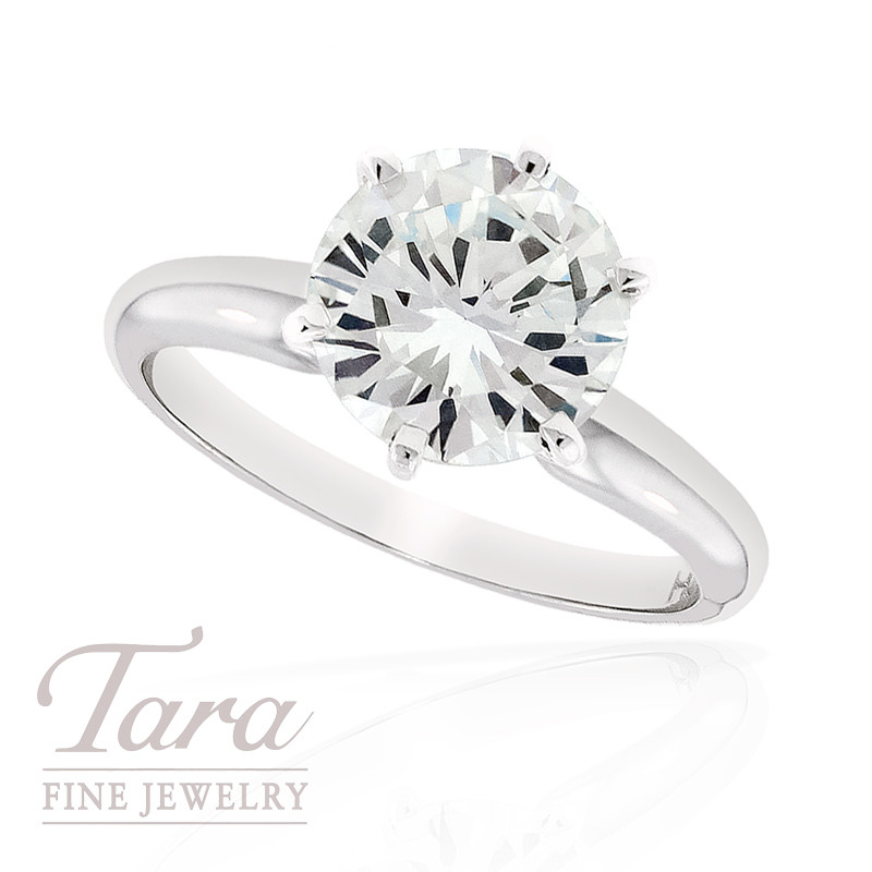 Diamond Solitaire Engagement Ring in 18k White Gold, 2.95 CT TW, (N/SI1)