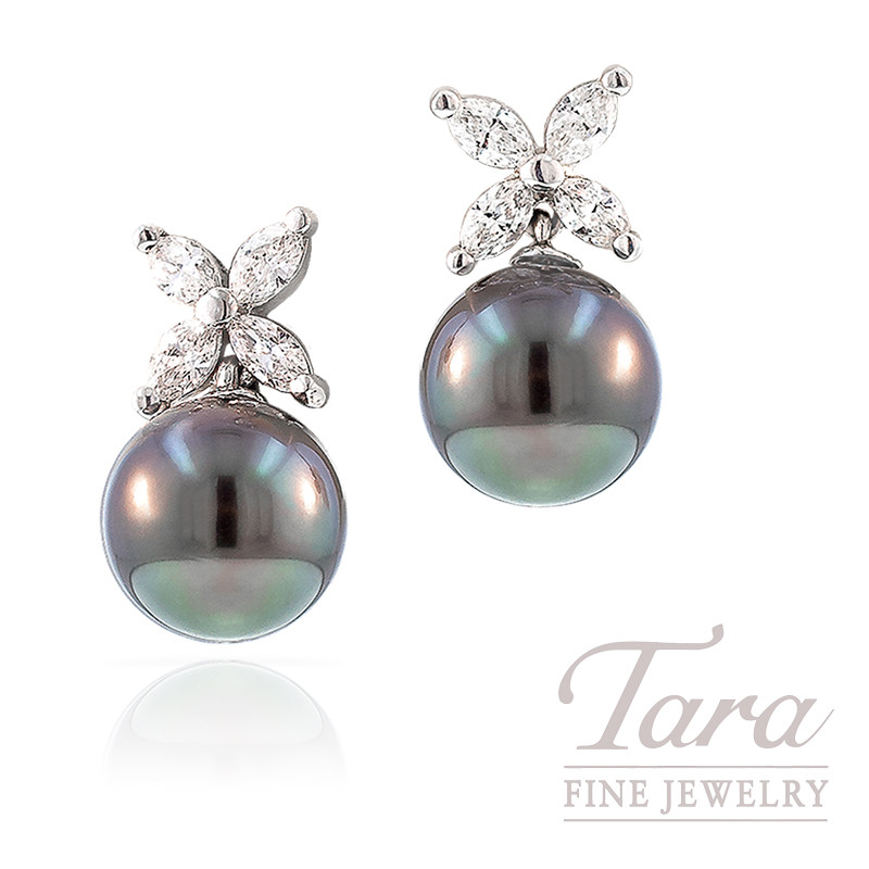 Tahitian Pearl and Diamond Earrings in 18k White Gold, 8.5mm Pearls and .30 TDW