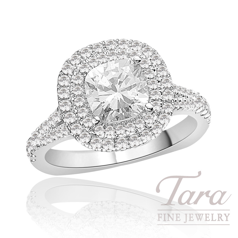 Diamond Wedding Ring by A. Jaffe in 18k White Gold, .56tdw (Center stone sold separately)
