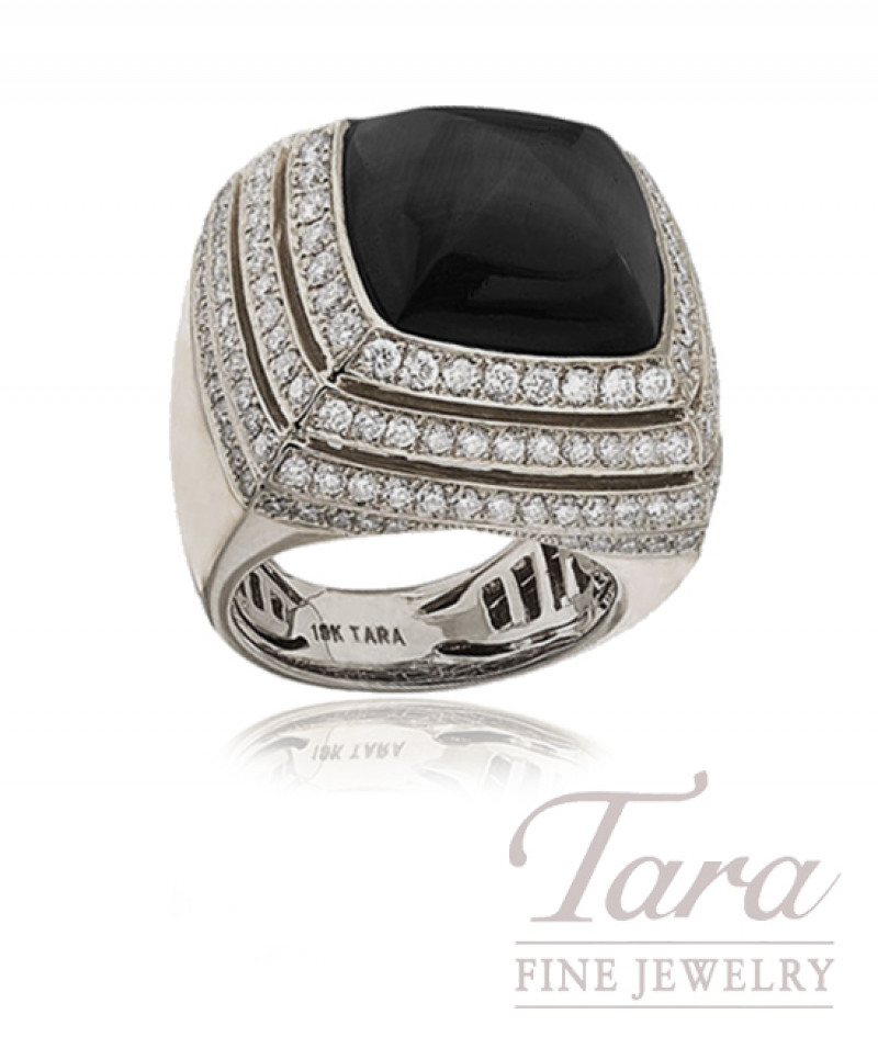 Black Onyx and Diamond Ring in 18K White Gold, 2.52ct tw, 20.0g