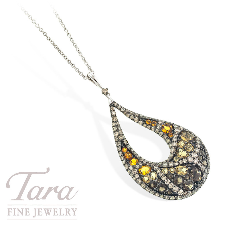 Champagne Diamond and Gemstone Pendant in 18k White Gold, 2.08tdw
