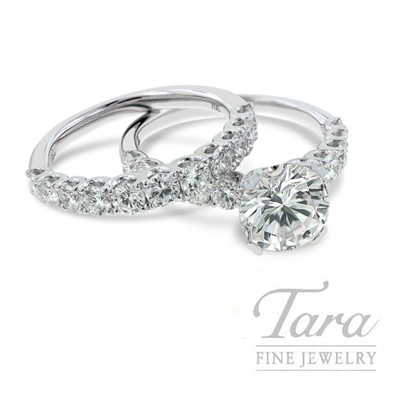 Diamond Engagement Ring and Band in 18K White Gold, .76 CT TW & Diamond Band, .88CT TW (Center Stone Sold Separately)