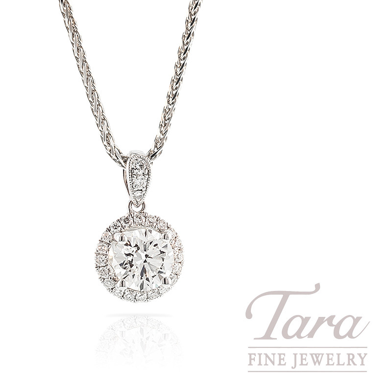 Forevermark Diamond Pendant with Halo in 18k White Gold, .81CT Center, .11TDW Halo