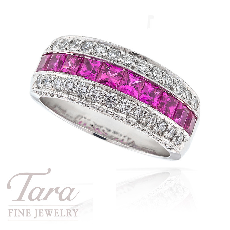 J.B. Star Diamond and Pink Sapphire Ring in Platinum, .80tdw and 1.30tw