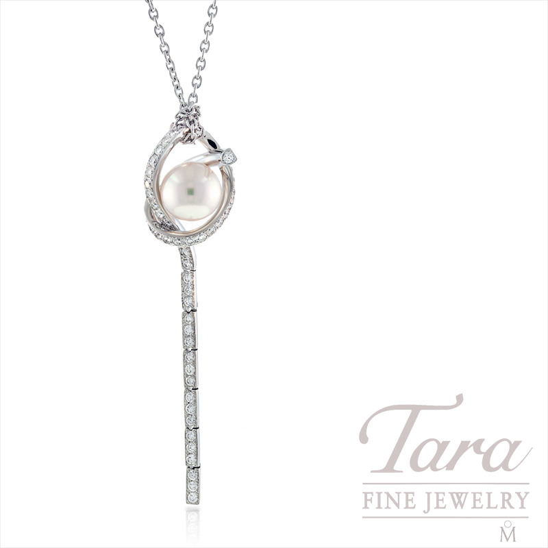 Mikimoto Pearl and Diamond Necklace, .66 tdw in 18k White Gold