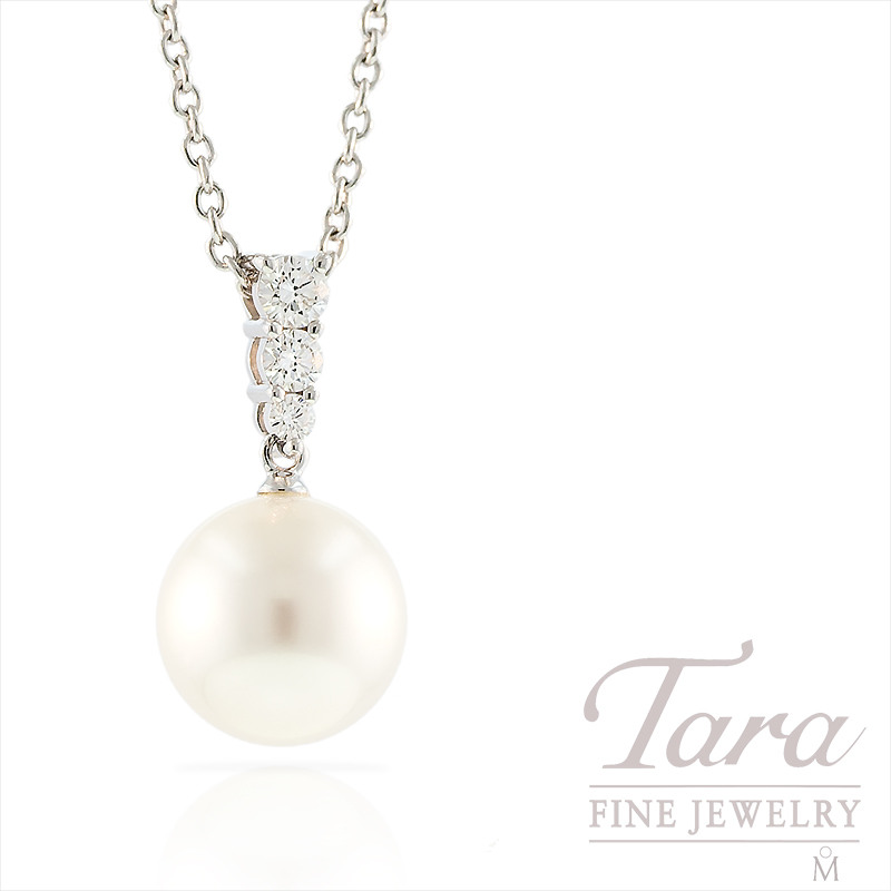 Mikimoto Pearl & Diamond Pendant in 18k White Gold, .25tdw