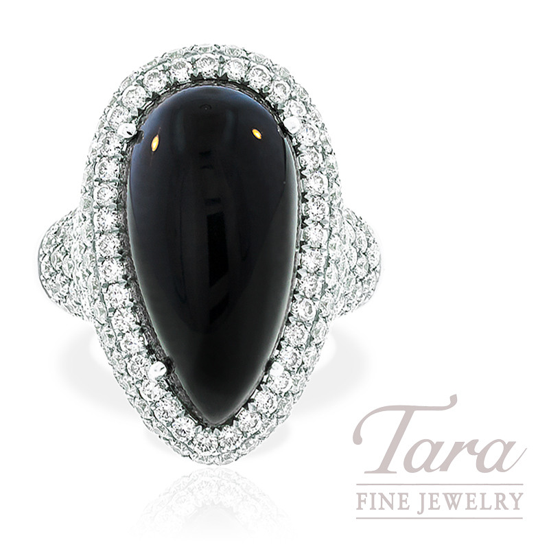 Black Onyx and Diamond Ring in 18k White Gold, 2.50 TDW 11.0g