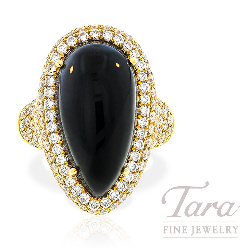 Onyx and Diamond Ring in 18k Yellow Gold, 2.63tdw, 11.3g