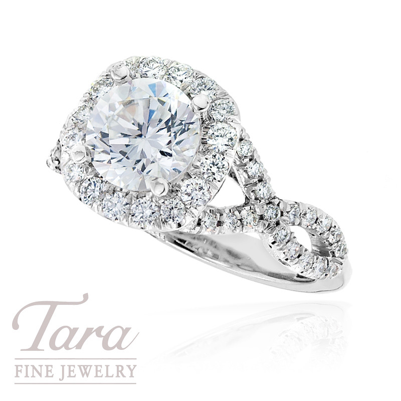 tacori diamond wedding ring in 18k white gold 77 ctw center stone sold - Tacori Wedding Ring