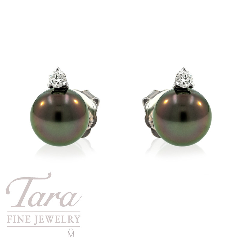 Tahitian Pearl and Diamond Earrings in 18k White Gold, 10mm Pearls and .22 TDW