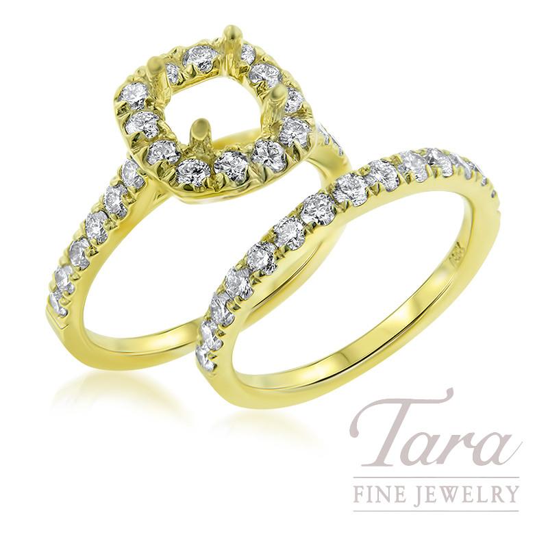 Diamond Wedding Set in 18K Yellow Gold .84TDW Semi-Mount, .58TDW Band (Center Stone Sold Separately)