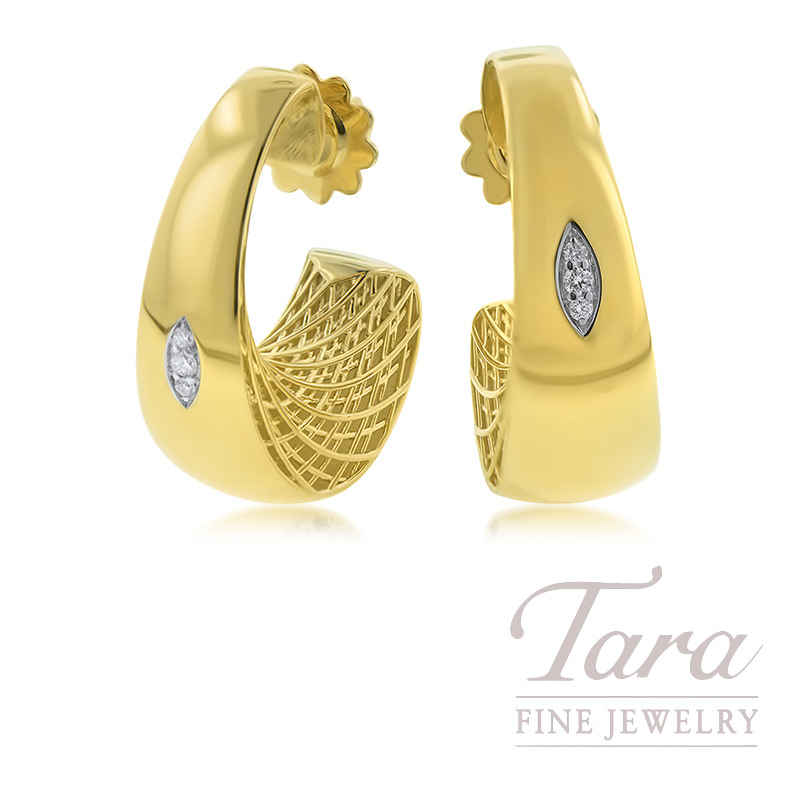 Roberto Coin 18K Yellow Gold Golden Gate Earrings, .10TDW