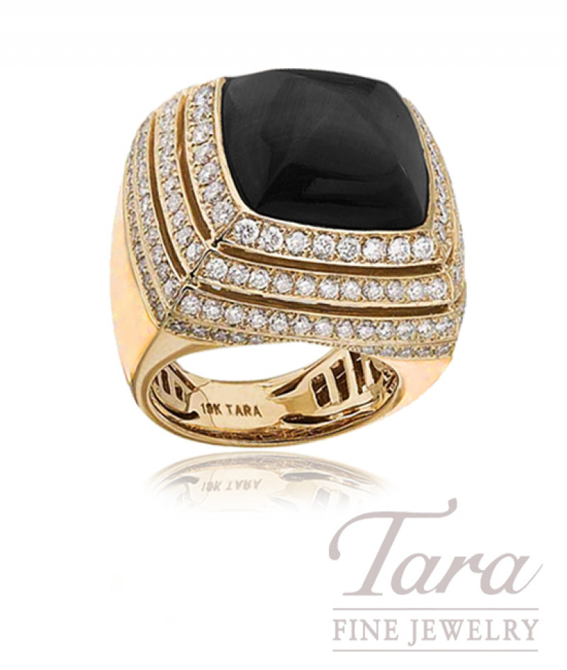 Black Onyx and Diamond Ring in 18k Yellow Gold,  2.50tdw, 20.0g