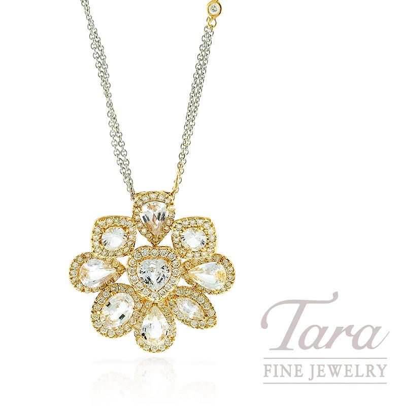 Diamond and White Sapphire Pendant in 18k Yellow Gold, 1.45TDW Diamonds, 5.55TW White Sapphires