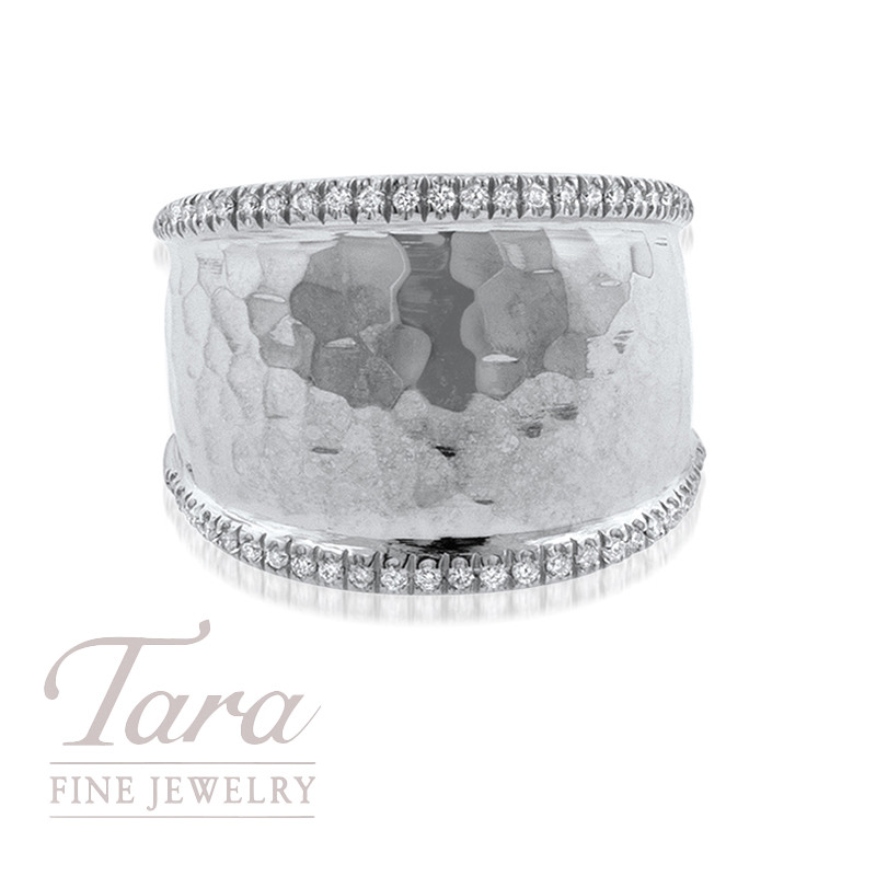 18K White Gold Hammered Diamond Band .25TDW