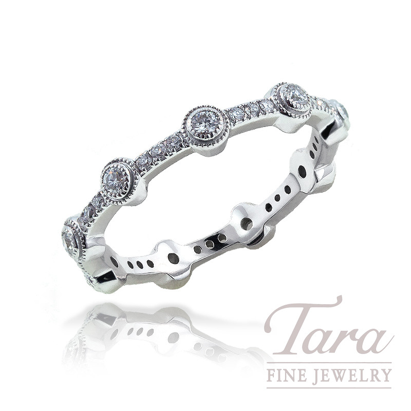 Norman Covan Diamond Band in 18K White Gold, .32 CT TW