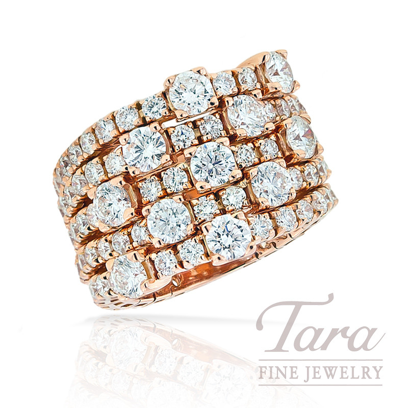 Hulchi Belluni Diamond Ring in 18K Rose Gold, 5.70 TDW