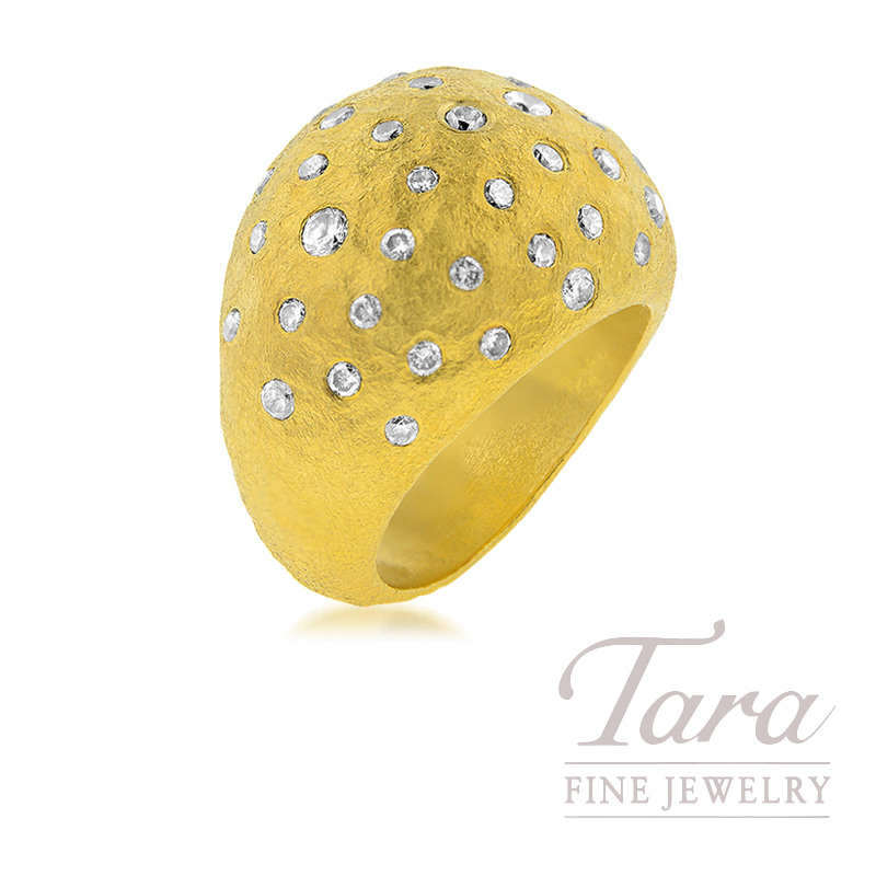 24K Yellow Gold Diamond Domed Fashion Ring, 1.60TDW