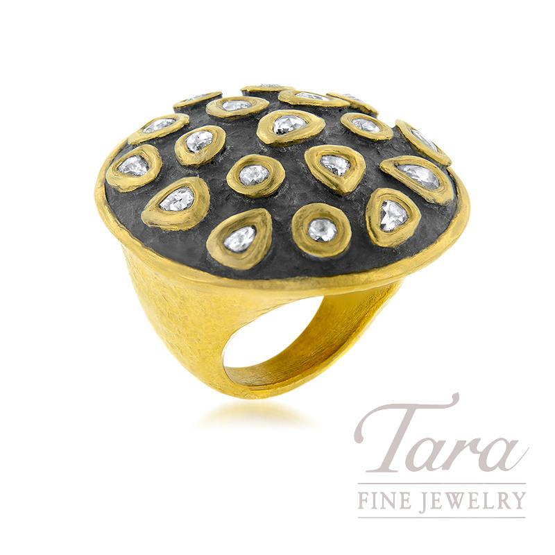 24K Yellow Gold Diamond Fashion Ring, 1.20TDW