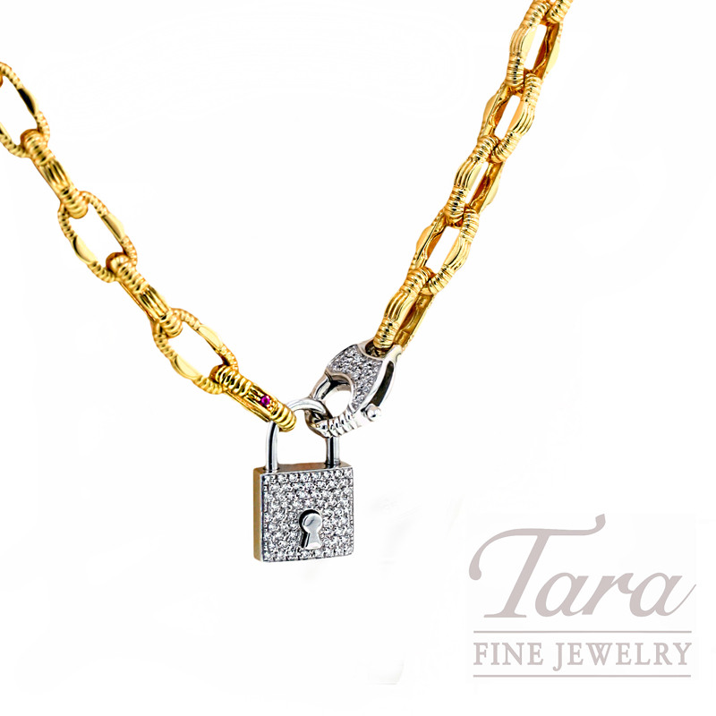 "Roberto Coin Diamond Link Chain & Diamond Lock, .62tdw, 18k Gold, ""Appassionata Collection"""