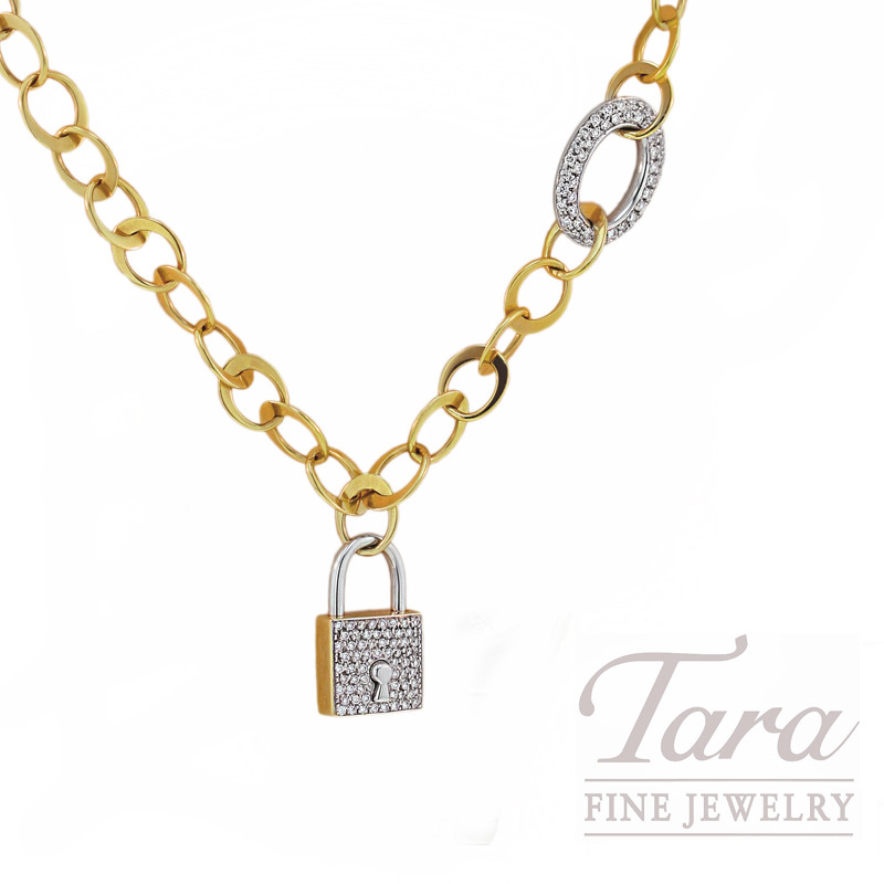 Roberto Coin Diamond Link Chain & Lock,  .91CT TDW, in 18kt Yellow Gold