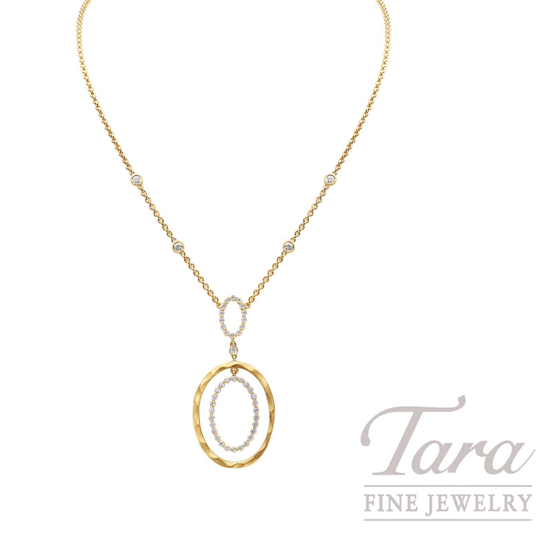Norman Covan Diamond Pendant in 18K Yellow Gold with Chain, .87 CT TW.