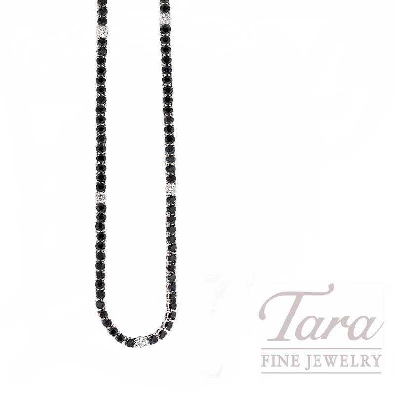 Roberto Coin Necklace with Black Sapphires and Diamonds in 18kt White Gold, .45tdw,