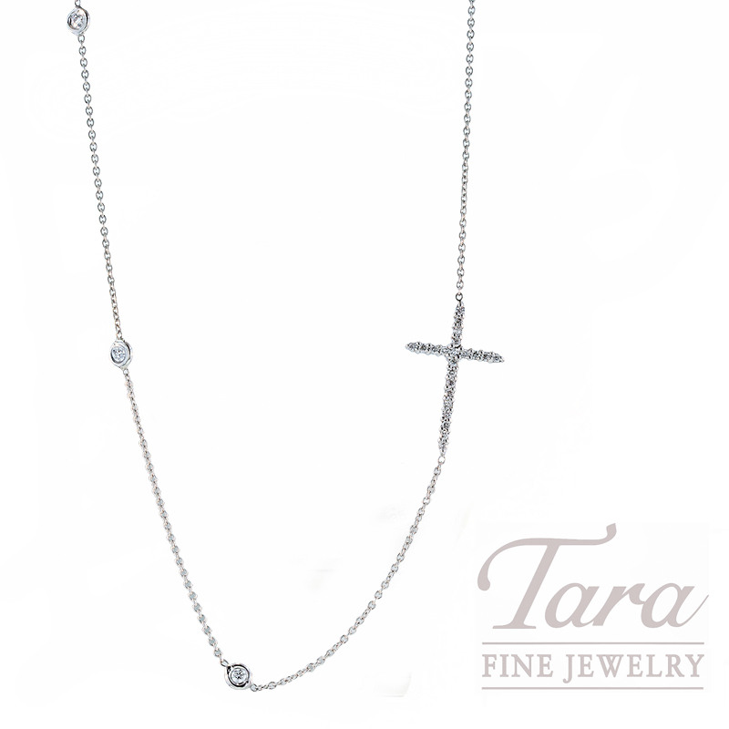 Roberto Coin Diamond Cross Necklace, .22tdw in 18K White Gold