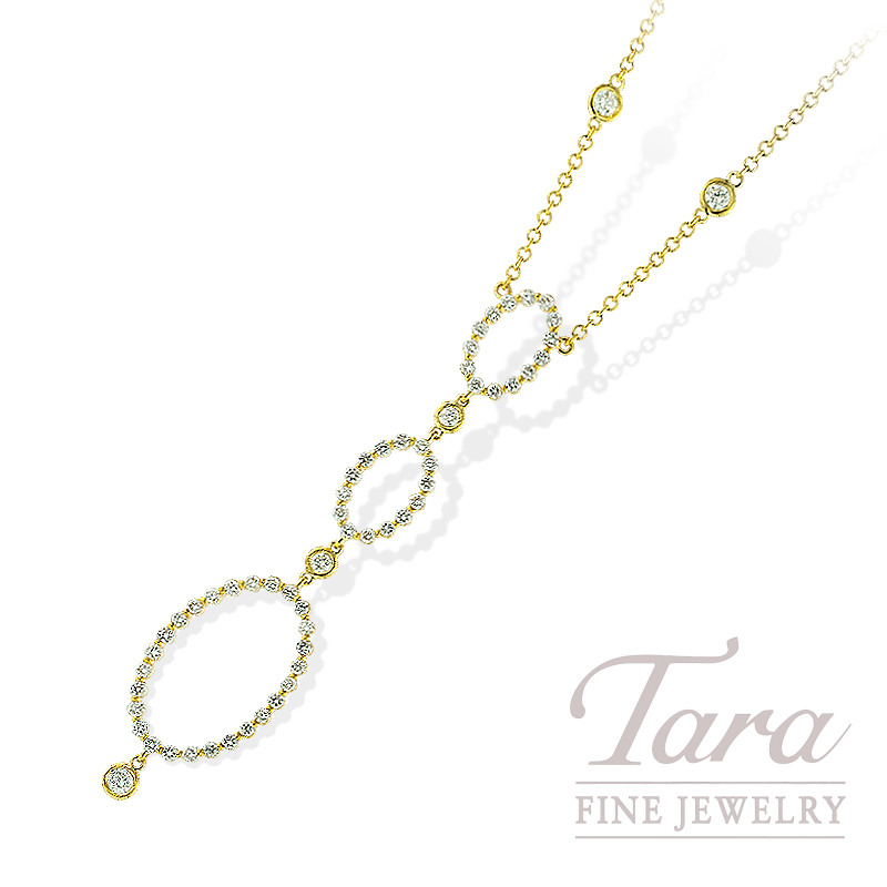 Norman Covan Diamond Pendant in 18K Yellow Gold, 1.39 TDW.