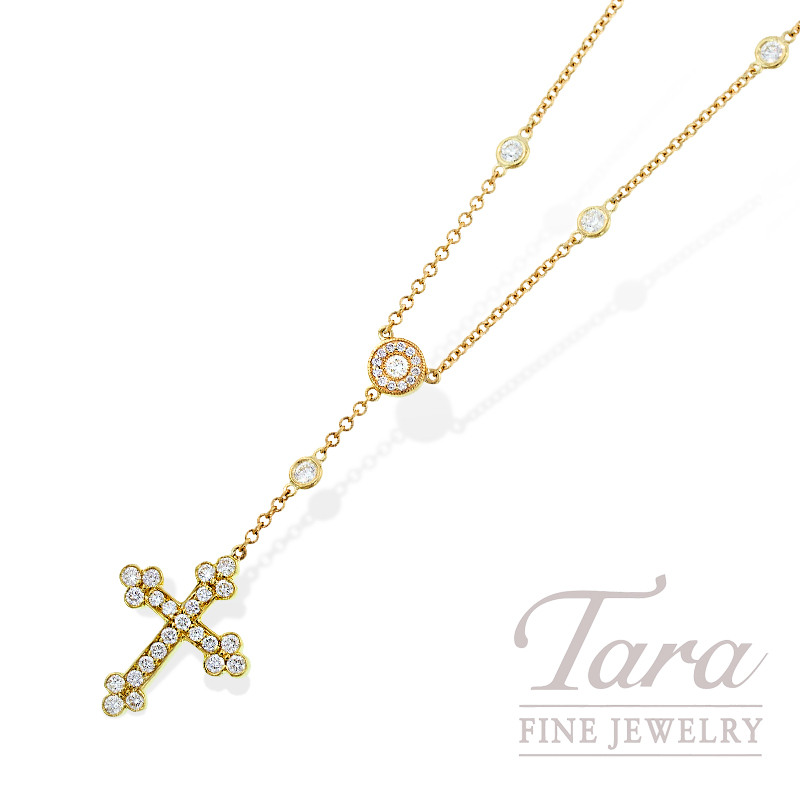 Norman Covan Diamond Cross Pendant in 18K Yellow Gold,  1.04 TDW