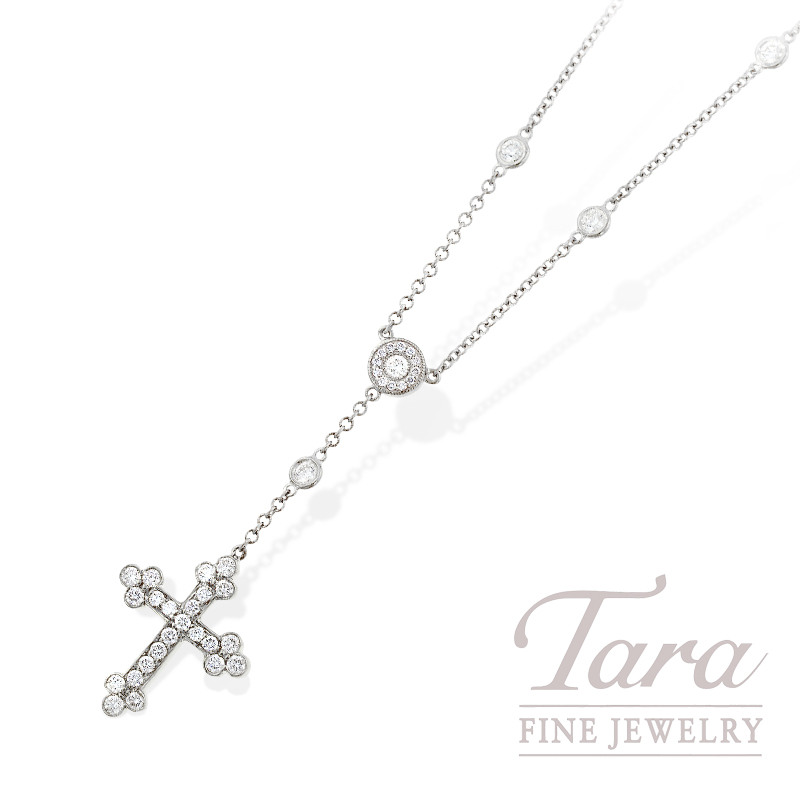 Norman Covan Diamond Cross Pendant in 18K White Gold, 1.04 TDW