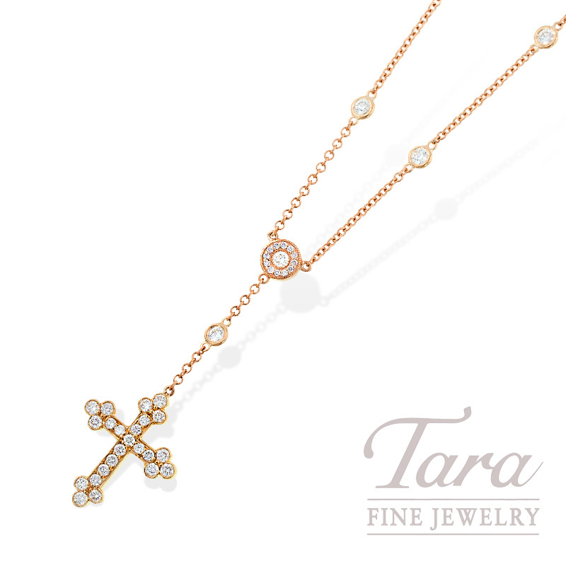 Norman Covan Diamond Cross Pendant in 18K Rose Gold, 1.04 TDW.