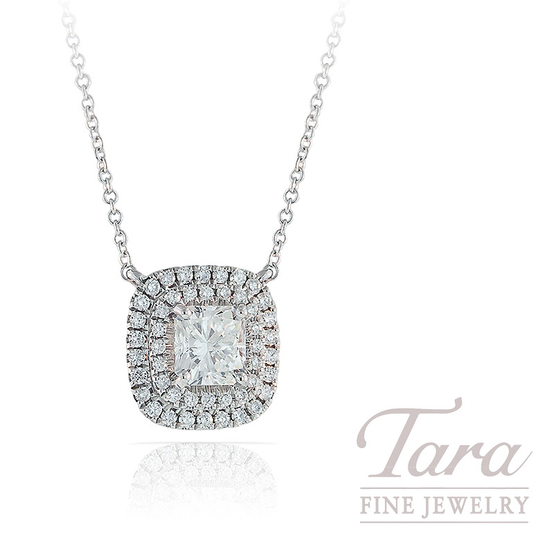 A. Jaffe Diamond Pendant with Chain in 18K White Gold, .26TDW Halo and .76CT Center Diamond