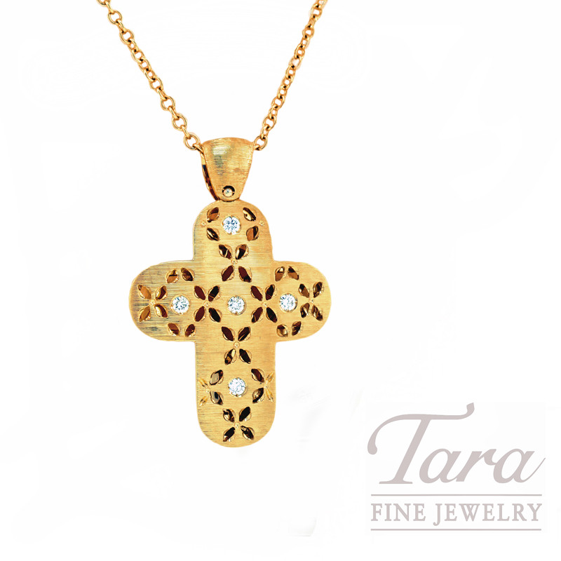 Roberto Coin Diamond Cross Pendant in 18kt Yellow Gold  .18CT TDW